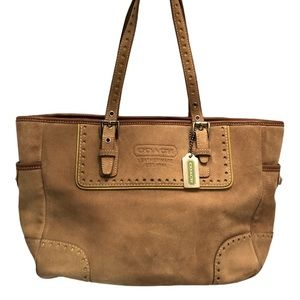 Coach leather suede tote bag green lining